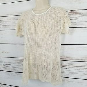 Nasty Gal | Ivory Crochet Knit Popover Top